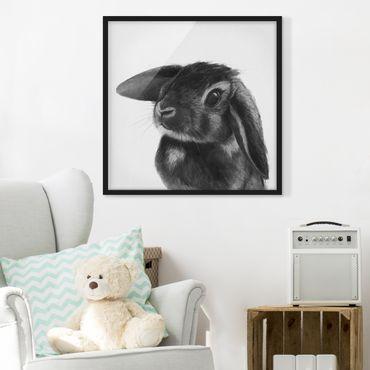 Bild mit Rahmen - Illustration Hase Schwarz Weiß Zeichnung - Quadrat 1:1