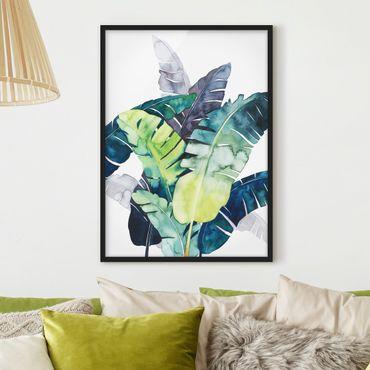 Bild mit Rahmen - Exotisches Blattwerk - Banane - Hochformat 4:3