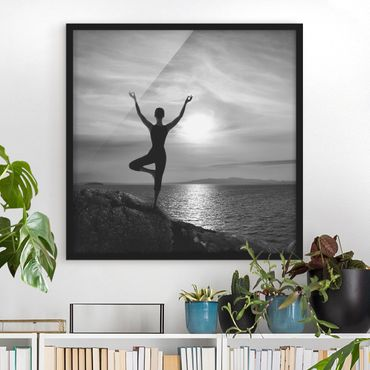 Bild mit Rahmen - Yoga schwarz weiss - Quadrat 1:1