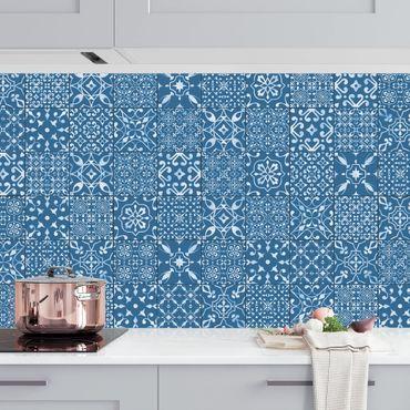 Küchenrückwand - Musterfliesen Dunkelblau Weiß
