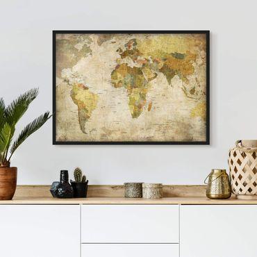 Bild mit Rahmen - Weltkarte - Querformat 3:4