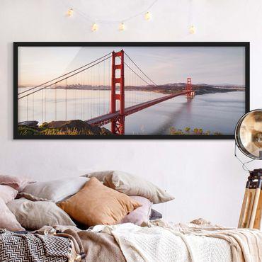 Bild mit Rahmen - Golden Gate Bridge in San Francisco - Panorama Querformat
