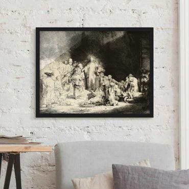 Bild mit Rahmen - Rembrandt van Rijn - Christus heilt die Kranken - Querformat 3:4