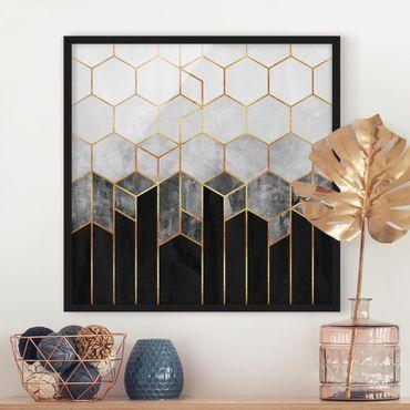 Bild mit Rahmen - Goldene Sechsecke Schwarz Weiß - Quadrat 1:1