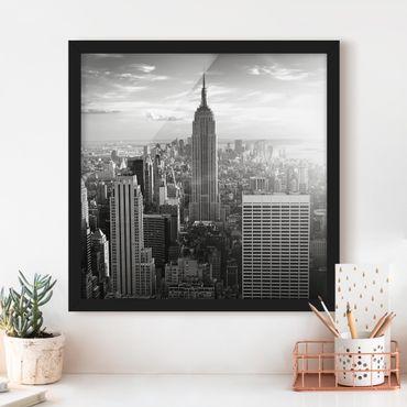 Bild mit Rahmen - Manhattan Skyline - Quadrat 1:1