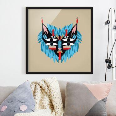 Bild mit Rahmen - Collage Ethno Maske - Löwe - Quadrat 1:1