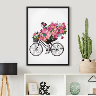 Bild mit Rahmen - Illustration Frau auf Fahrrad Collage bunte Blumen - Hochformat 4:3