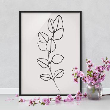 Bild mit Rahmen - Line Art Zweig Blätter Schwarz Weiß - Hochformat 4:3