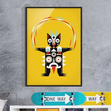 Bild mit Rahmen - Collage Ethno Monster - Jongleur - Hochformat 4:3