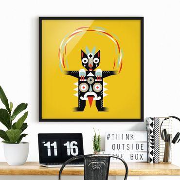 Bild mit Rahmen - Collage Ethno Monster - Jongleur - Quadrat 1:1
