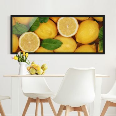 Bild mit Rahmen - Saftige Zitronen - Panorama Querformat