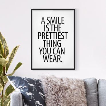 Bild mit Rahmen - A Smile is the prettiest thing Sans Serif - Hochformat 3:4