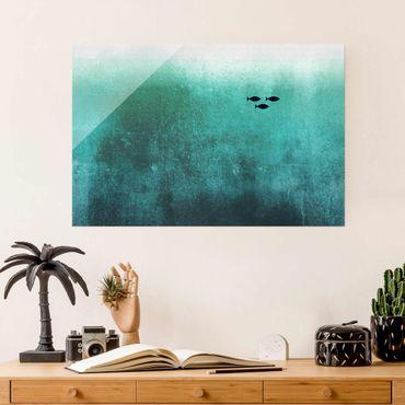Glasbild - Fische in der Tiefsee - Querformat 2:3