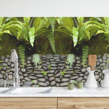 Küchenrückwand - Steinwand mit Pflanzen