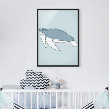 Bild mit Rahmen - Schildkröte Line Art - Hochformat 4:3