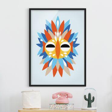 Bild mit Rahmen - Collage Ethno Maske - Papagei - Hochformat 4:3