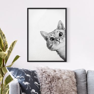 Bild mit Rahmen - Illustration Katze Zeichnung Schwarz Weiß - Hochformat 4:3