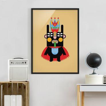 Bild mit Rahmen - Collage Ethno Monster - König - Hochformat 4:3