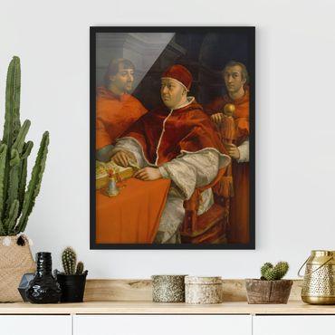 Bild mit Rahmen - Raffael - Bildnis von Papst Leo X - Hochformat 3:4