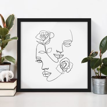 Bild mit Rahmen - Line Art Gesichter Frauen Rosen Schwarz Weiß - Quadrat 1:1