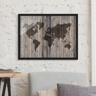 Bild mit Rahmen - Holz Weltkarte - Querformat 3:4