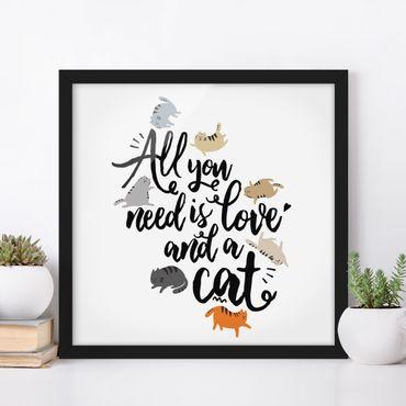 Bild mit Rahmen - All you need is love and a cat - Quadrat 1:1