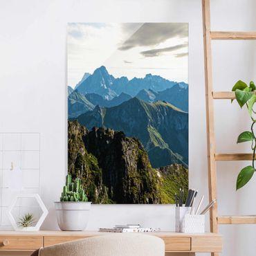 Glasbild - Berge auf den Lofoten - Hochformat