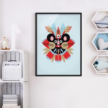 Bild mit Rahmen - Collage Ethno Maske - Maus - Hochformat 4:3