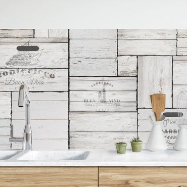 Küchenrückwand - Shabby Holzkisten