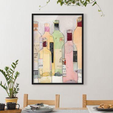 Bild mit Rahmen - Weinflaschen in Wasserfarbe I - Hochformat 4:3