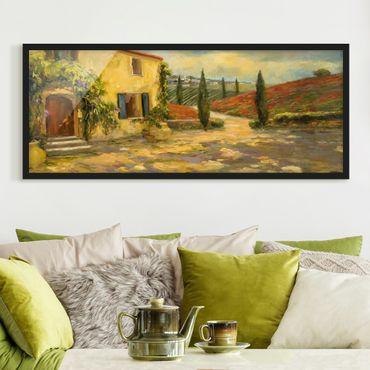 Bild mit Rahmen - Italienische Landschaft - Toskana - Panorama Querformat