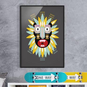 Bild mit Rahmen - Collage Ethno Maske - King Kong - Hochformat 4:3