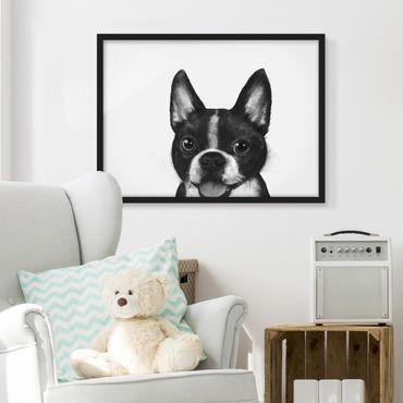 Bild mit Rahmen - Illustration Hund Boston Schwarz Weiß Malerei - Querformat 3:4