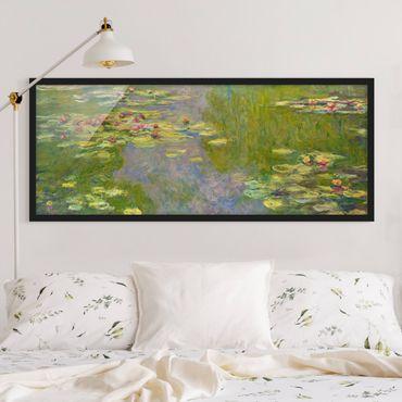 Bild mit Rahmen - Claude Monet - Grüne Seerosen - Panorama Querformat