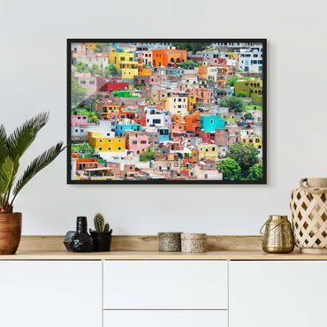 Bild mit Rahmen - Farbige Häuserfront Guanajuato - Querformat 3:4