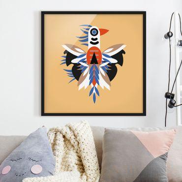 Bild mit Rahmen - Collage Ethno Monster - Federn - Quadrat 1:1