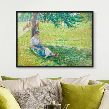 Bild mit Rahmen - Camille Pissarro - Kuhhirtin - Querformat 3:4