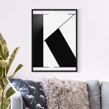 Bild mit Rahmen - Antiqua Letter K - Hochformat 3:4