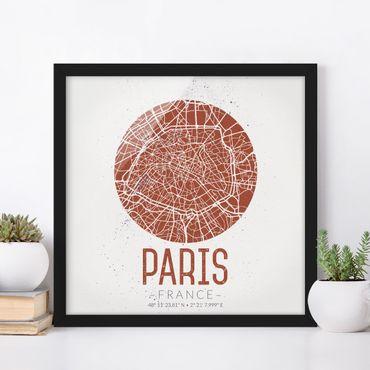 Bild mit Rahmen - Stadtplan Paris - Retro - Quadrat 1:1