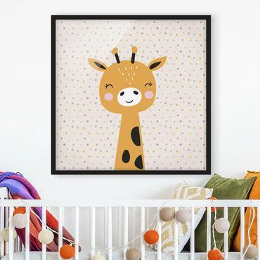 Bild mit Rahmen - Baby Giraffe - Quadrat 1:1