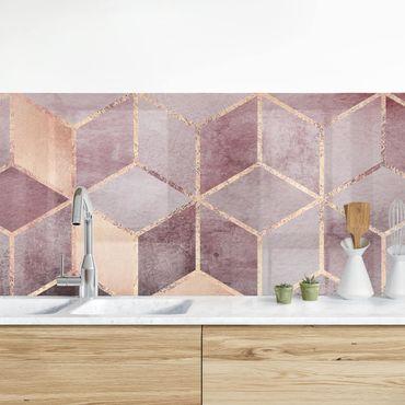 Küchenrückwand - Rosa Grau goldene Geometrie
