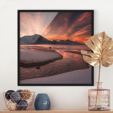 Bild mit Rahmen - Goldener Sonnenuntergang - Quadrat 1:1