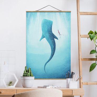 Stoffbild mit Posterleisten - Der Walhai - Hochformat 3:2