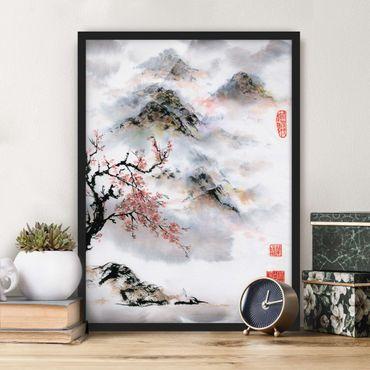 Bild mit Rahmen - Japanische Aquarell Zeichnung Kirschbaum und Berge - Hochformat 4:3