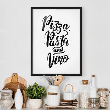 Bild mit Rahmen - Pizza Pasta und Vino - Hochformat 3:4