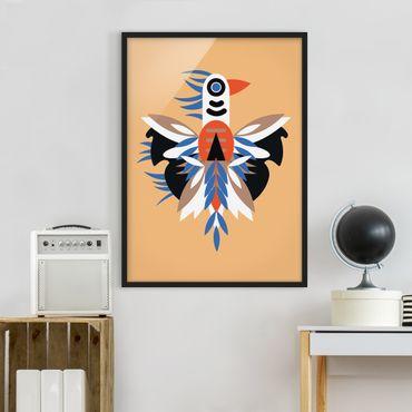 Bild mit Rahmen - Collage Ethno Monster - Federn - Hochformat 4:3
