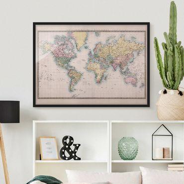 Bild mit Rahmen - Vintage Weltkarte um 1850 - Querformat 3:4