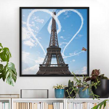 Bild mit Rahmen - Paris - City of Love - Quadrat 1:1