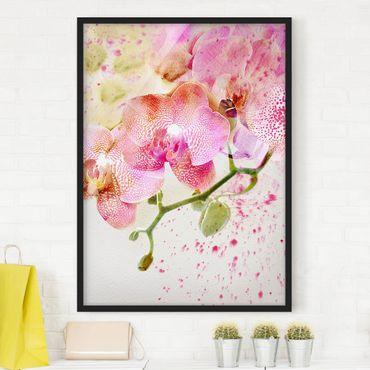 Bild mit Rahmen - Aquarell Blumen Orchideen - Hochformat 3:4