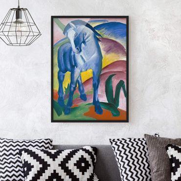 Bild mit Rahmen - Franz Marc - Blaues Pferd - Hochformat 3:4